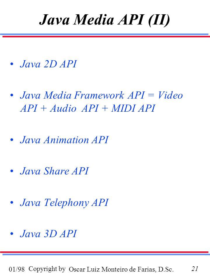 Oscar Luiz Monteiro de Farias, D.Sc.01/98 Copyright by21 Java Media API (II) Java 2D API Java Media Framework API = Video API + Audio API + MIDI API Java Animation API Java Share API Java Telephony API Java 3D API
