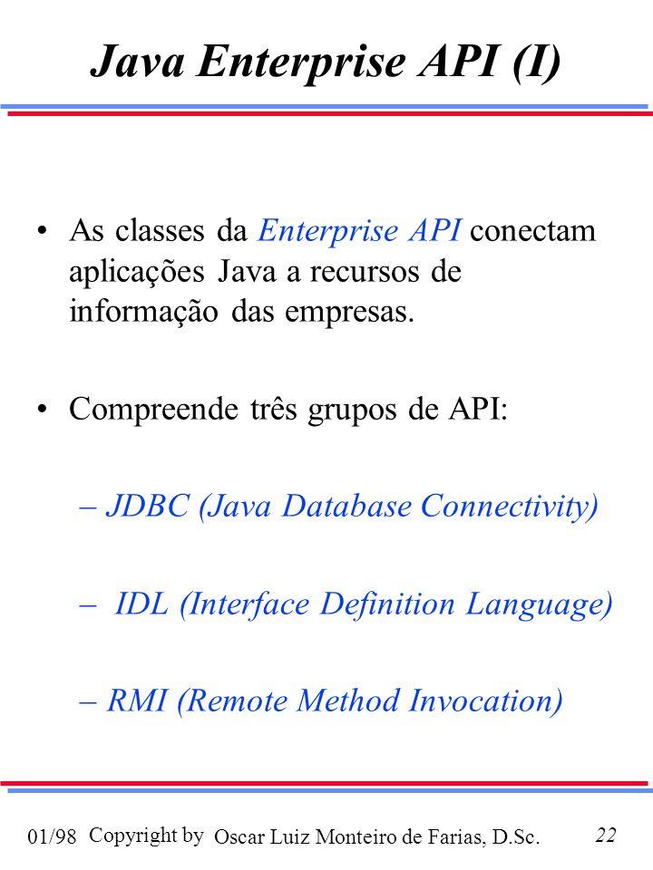 Oscar Luiz Monteiro de Farias, D.Sc.01/98 Copyright by22 Java Enterprise API (I) As classes da Enterprise API conectam aplicações Java a recursos de informação das empresas.