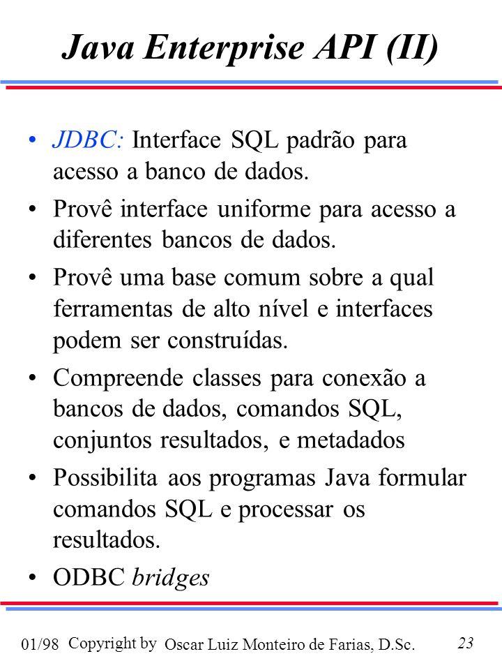 Oscar Luiz Monteiro de Farias, D.Sc.01/98 Copyright by23 Java Enterprise API (II) JDBC: Interface SQL padrão para acesso a banco de dados.