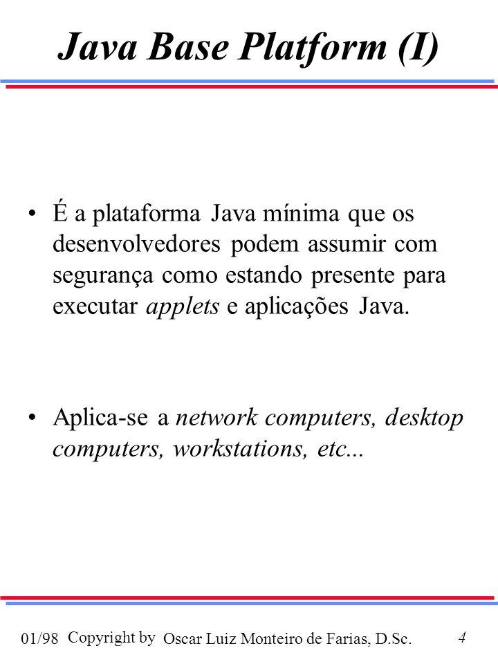 Oscar Luiz Monteiro de Farias, D.Sc.01/98 Copyright by4 Java Base Platform (I) É a plataforma Java mínima que os desenvolvedores podem assumir com segurança como estando presente para executar applets e aplicações Java.