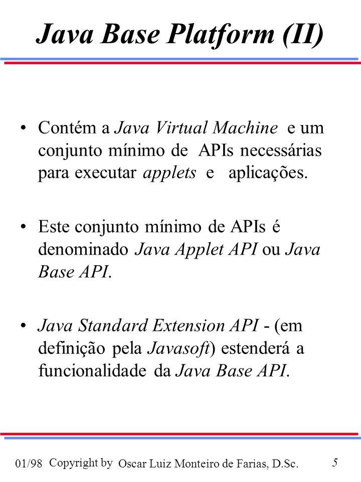 Oscar Luiz Monteiro de Farias, D.Sc.01/98 Copyright by26 Java Server API Estrutura extensível que possibilita e facilita o desenvolvimento de todo um espectro de servidores Java em ambientes Internet e Intranet.