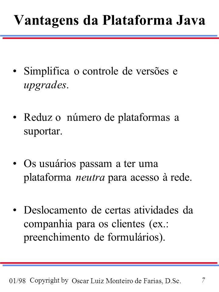 Oscar Luiz Monteiro de Farias, D.Sc.01/98 Copyright by8 Applets x Aplicações (I) Applets: são programas que precisam de um browse (JVM) para serem executados.