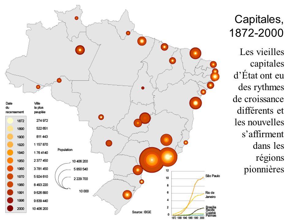 Les vieilles capitales dÉtat ont eu des rythmes de croissance différents et les nouvelles saffirment dans les régions pionnières Capitales, 1872-2000