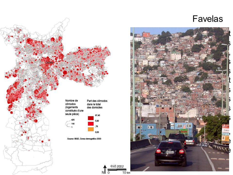 Les favelas sont présentes dans tout le pays, même si elles sont plus nombreuses et plus importantes dans les grandes métropoles Rocinha, à Rio, est une ville dans la ville Favelas