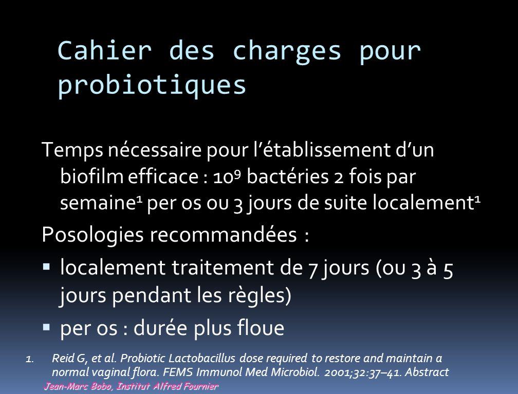 Cahier des charges pour probiotiques Temps nécessaire pour létablissement dun biofilm efficace : 10 9 bactéries 2 fois par semaine 1 per os ou 3 jours