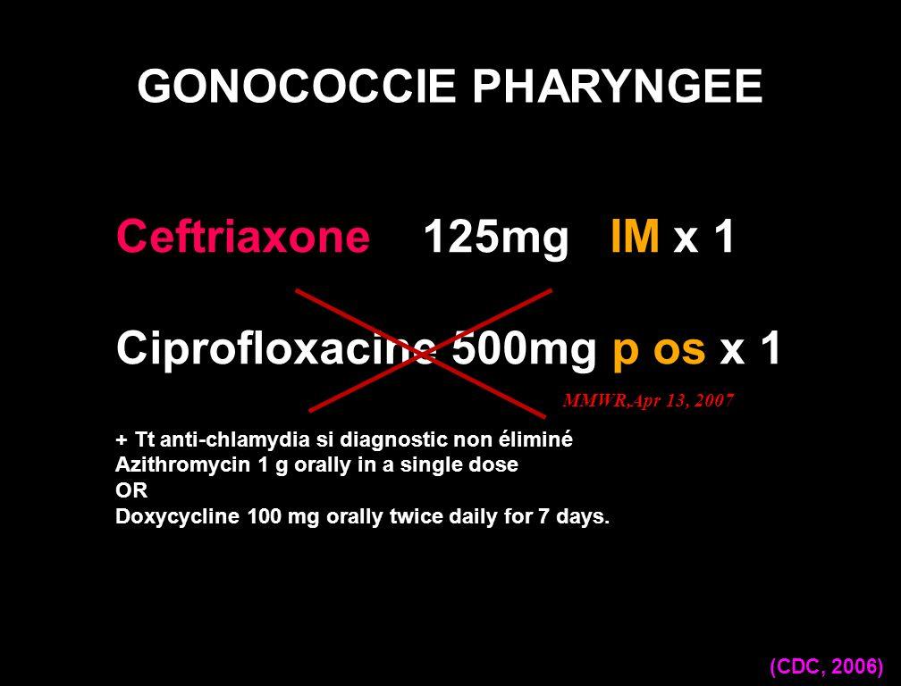 Ceftriaxone 125mg IM x 1 Ciprofloxacine 500mg p os x 1 + Tt anti-chlamydia si diagnostic non éliminé Azithromycin 1 g orally in a single dose OR Doxyc