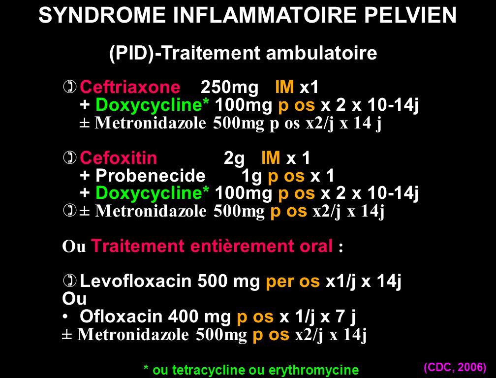 Ceftriaxone 250mg IM x1 + Doxycycline* 100mg p os x 2 x 10-14j ± Metronidazole 500mg p os x2/j x 14 j Cefoxitin 2g IM x 1 + Probenecide 1g p os x 1 +