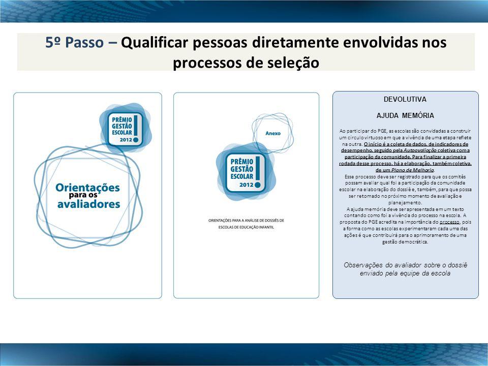 5º Passo – Qualificar pessoas diretamente envolvidas nos processos de seleção DEVOLUTIVA AJUDA MEMÓRIA Ao participar do PGE, as escolas são convidadas
