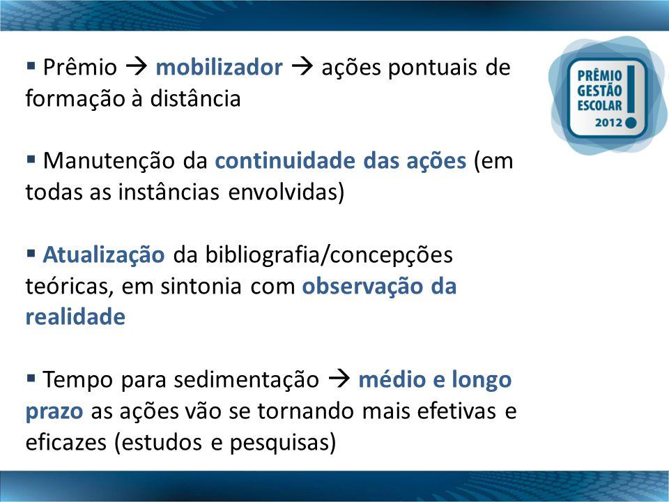  Prêmio  mobilizador  ações pontuais de formação à distância  Manutenção da continuidade das ações (em todas as instâncias envolvidas)  Atualizaç