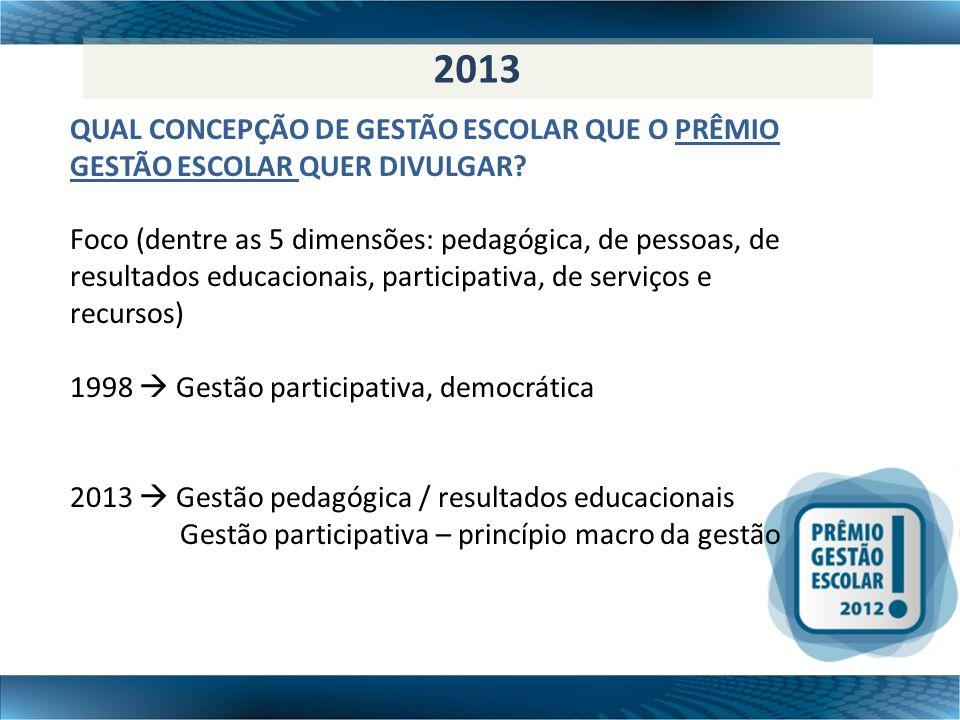 7º 2013 QUAL CONCEPÇÃO DE GESTÃO ESCOLAR QUE O PRÊMIO GESTÃO ESCOLAR QUER DIVULGAR? Foco (dentre as 5 dimensões: pedagógica, de pessoas, de resultados