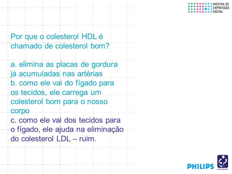 Por que o colesterol HDL é chamado de colesterol bom.