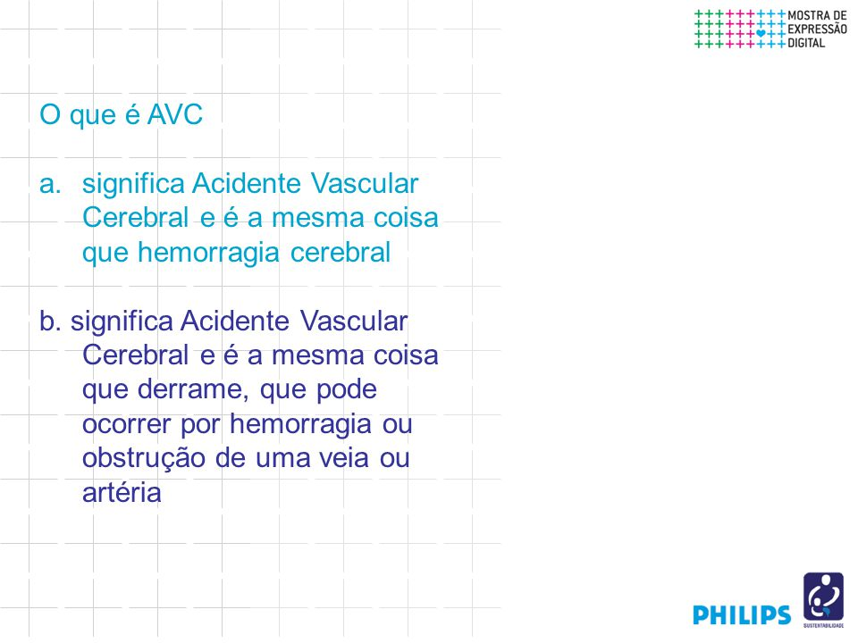 O que é AVC a.significa Acidente Vascular Cerebral e é a mesma coisa que hemorragia cerebral b.