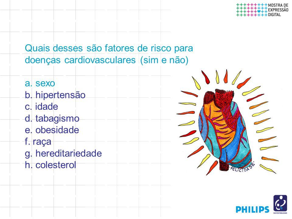 Quais desses são fatores de risco para doenças cardiovasculares (sim e não) a.