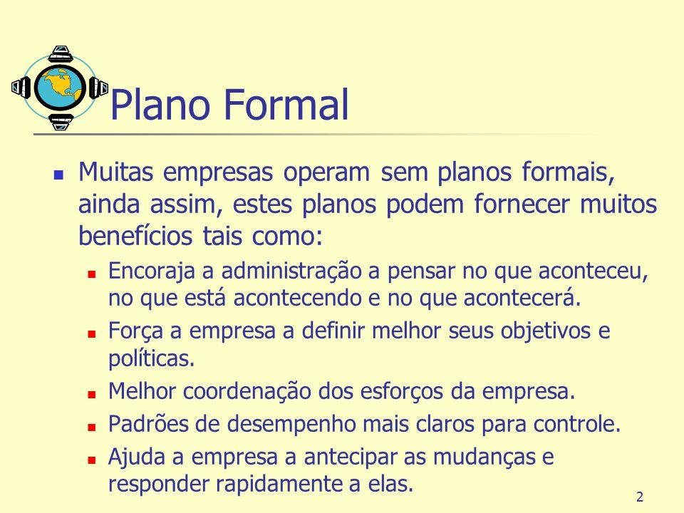 2 Plano Formal Muitas empresas operam sem planos formais, ainda assim, estes planos podem fornecer muitos benefícios tais como: Encoraja a administraç