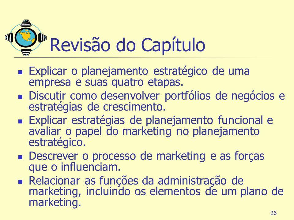26 Revisão do Capítulo Explicar o planejamento estratégico de uma empresa e suas quatro etapas. Discutir como desenvolver portfólios de negócios e est
