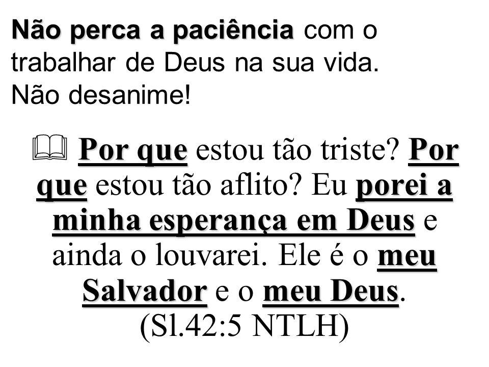 Não perca a paciência Não perca a paciência com o trabalhar de Deus na sua vida.