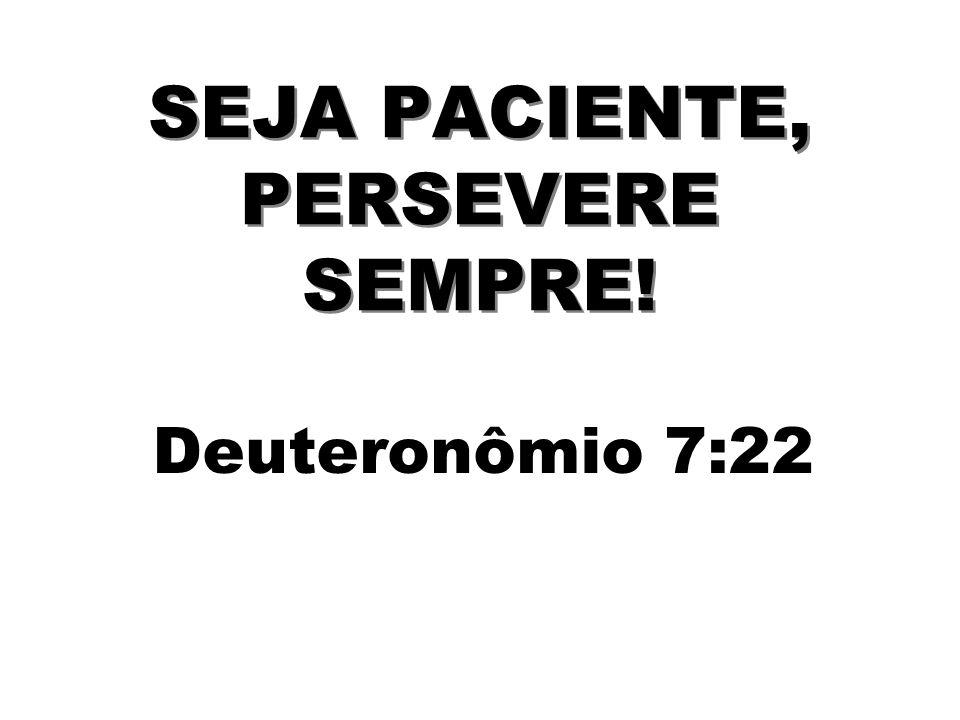 SEJA PACIENTE, PERSEVERE SEMPRE! Deuteronômio 7:22