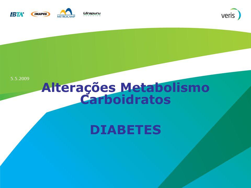 5.5.2009 Alterações Metabolismo Carboidratos DIABETES