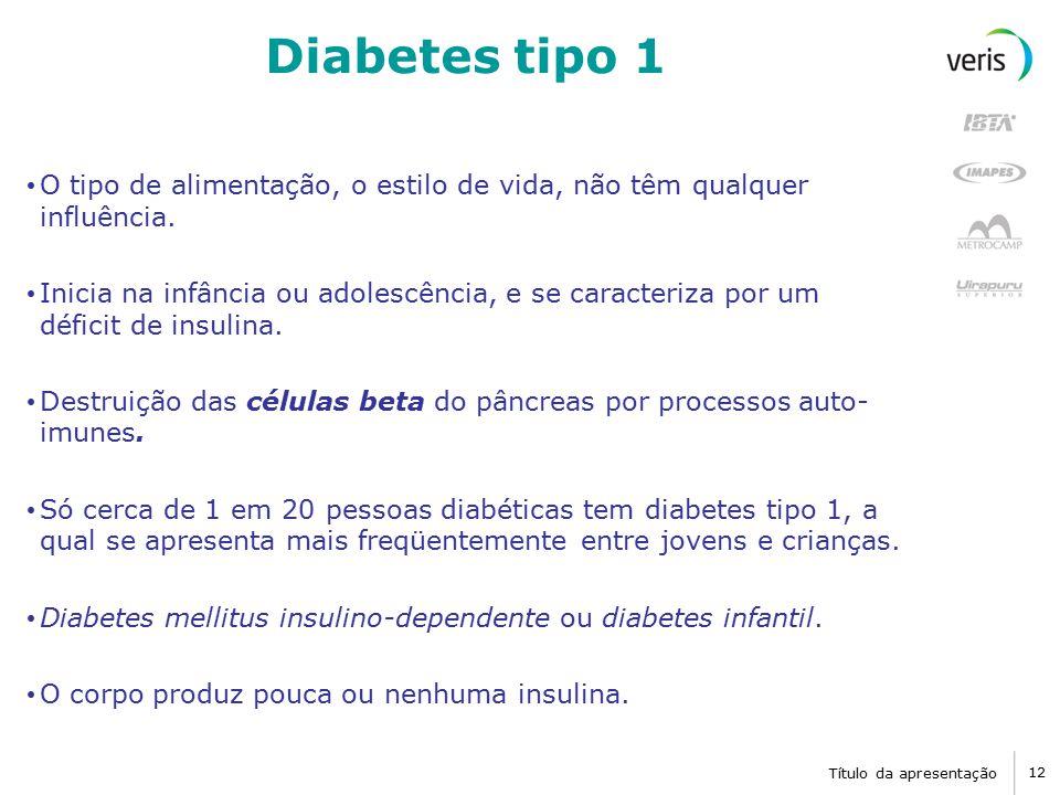 Título da apresentação 12 Diabetes tipo 1 O tipo de alimentação, o estilo de vida, não têm qualquer influência.