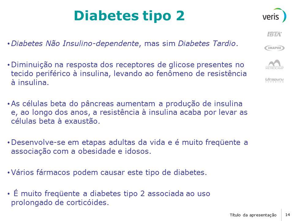 Título da apresentação 14 Diabetes tipo 2 Diabetes Não Insulino-dependente, mas sim Diabetes Tardio.