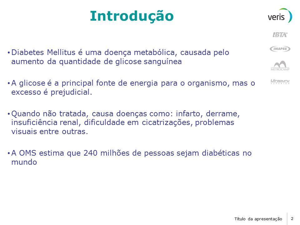 Título da apresentação 2 Introdução Diabetes Mellitus é uma doença metabólica, causada pelo aumento da quantidade de glicose sanguínea A glicose é a principal fonte de energia para o organismo, mas o excesso é prejudicial.