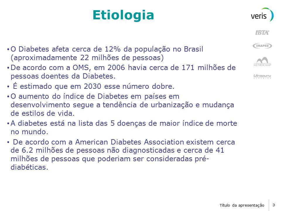 Título da apresentação 4 Causas e Fisiopatologia Diabetes Mellitus tipo 1: Falta de insulina.