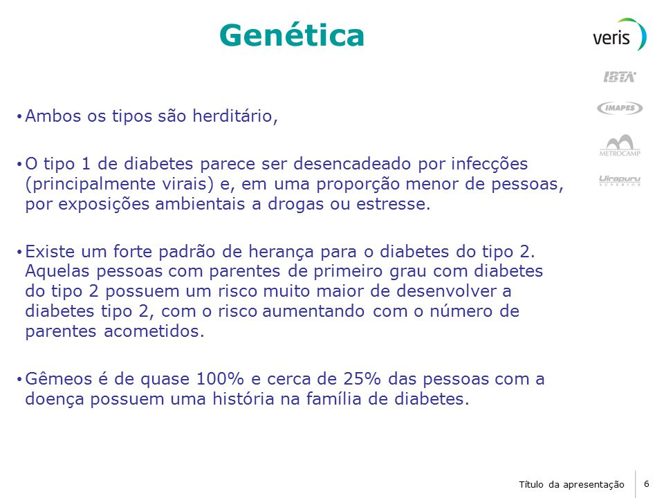 Título da apresentação 6 Genética Ambos os tipos são herditário, O tipo 1 de diabetes parece ser desencadeado por infecções (principalmente virais) e, em uma proporção menor de pessoas, por exposições ambientais a drogas ou estresse.