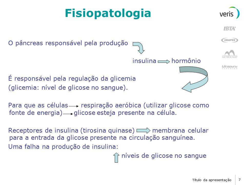 Título da apresentação 8 Fisiopatologia Manter Glicemia constante O pâncreas produz GLUCAGON antagônico à insulina quando a glicemia cai, mais glucagon é secretado restabelecer o nível de glicose na circulação.