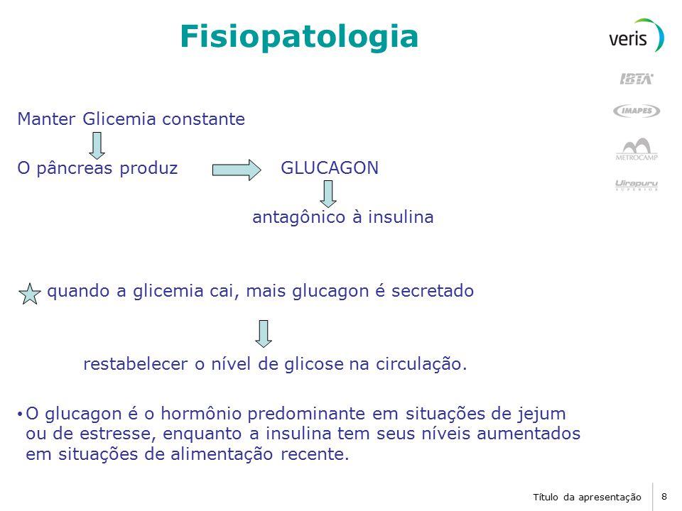 Título da apresentação 9 Fisiopatologia CHO são convertidos em poucas horas em glicose Alguns carboidratos não são convertidos em glicose: Frutose:utilizada como um combustível celular, mas não é convertida em glicose e não participa no mecanismo regulatório metabólico da insulina / glicose; Celulose: humanos e muitos animais não têm vias digestivas capazes de digerir a celulose.