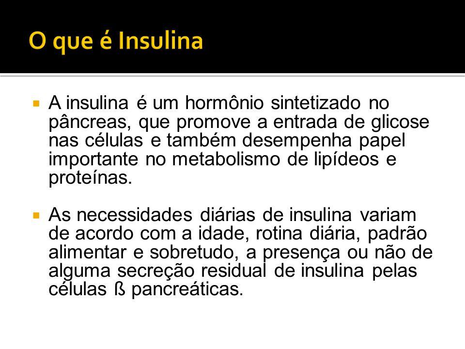  A insulina é um hormônio sintetizado no pâncreas, que promove a entrada de glicose nas células e também desempenha papel importante no metabolismo d