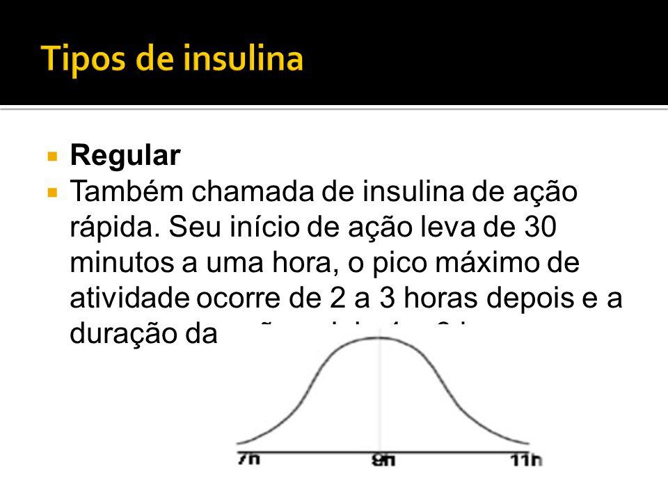  Regular  Também chamada de insulina de ação rápida. Seu início de ação leva de 30 minutos a uma hora, o pico máximo de atividade ocorre de 2 a 3 ho