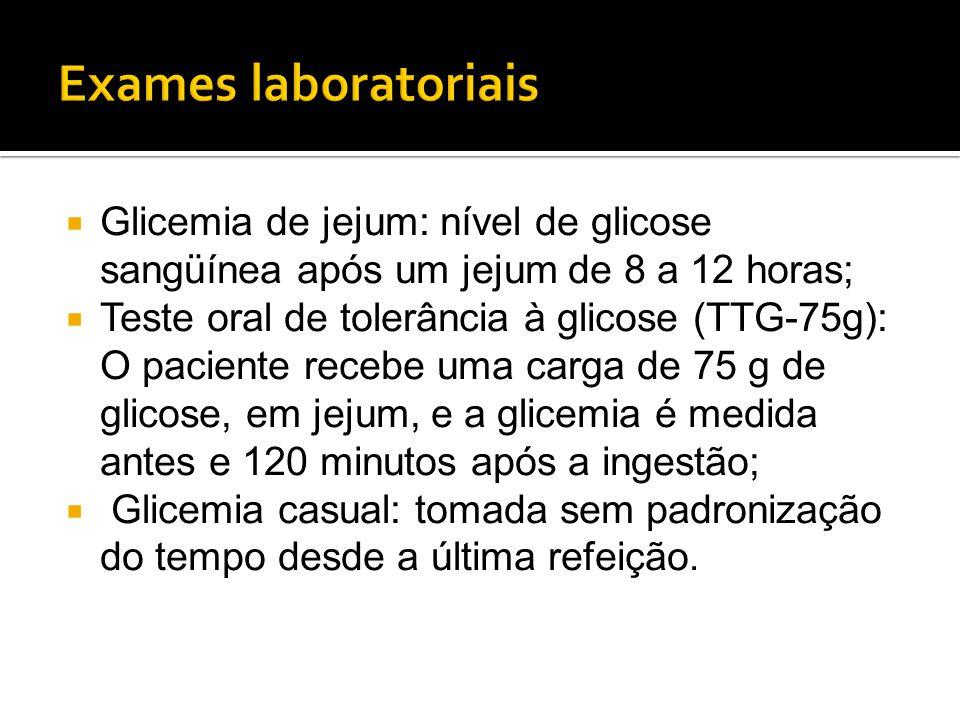  Glicemia de jejum: nível de glicose sangüínea após um jejum de 8 a 12 horas;  Teste oral de tolerância à glicose (TTG-75g): O paciente recebe uma c