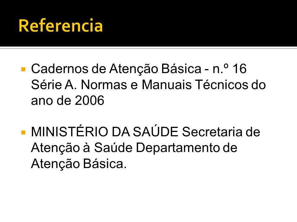  Cadernos de Atenção Básica - n.º 16 Série A. Normas e Manuais Técnicos do ano de 2006  MINISTÉRIO DA SAÚDE Secretaria de Atenção à Saúde Departamen