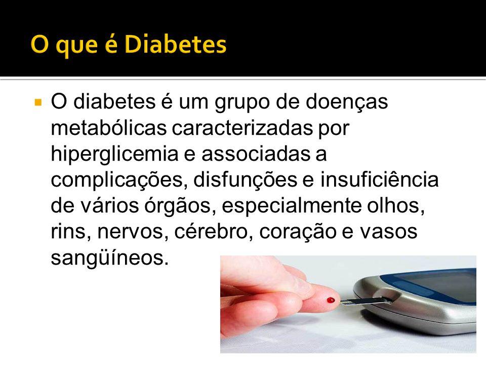  O diabetes é um grupo de doenças metabólicas caracterizadas por hiperglicemia e associadas a complicações, disfunções e insuficiência de vários órgã