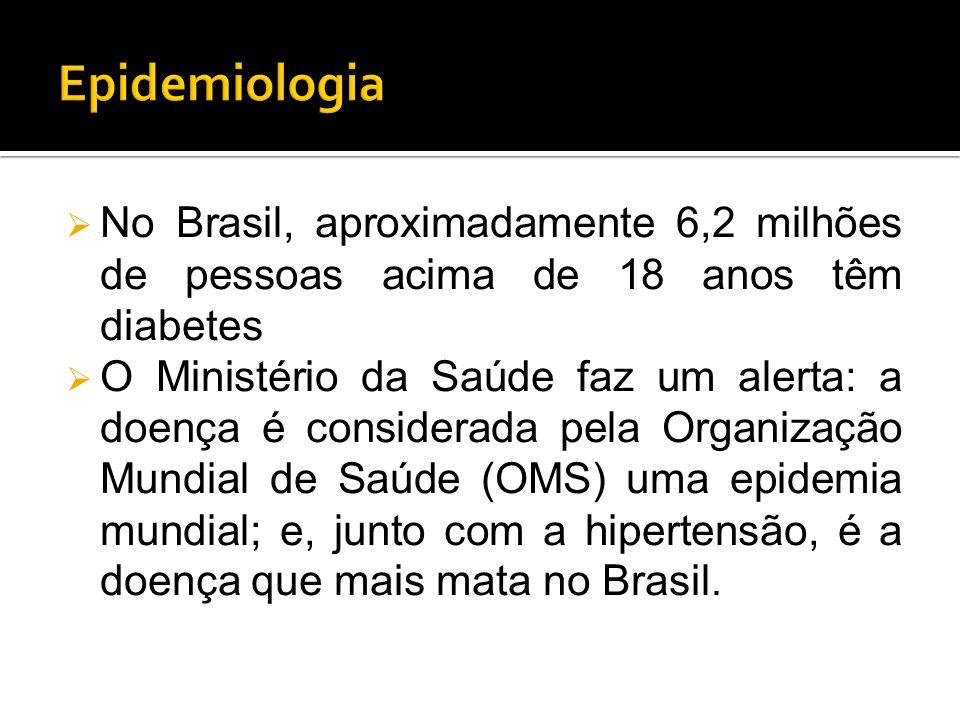  No Brasil, aproximadamente 6,2 milhões de pessoas acima de 18 anos têm diabetes  O Ministério da Saúde faz um alerta: a doença é considerada pela O