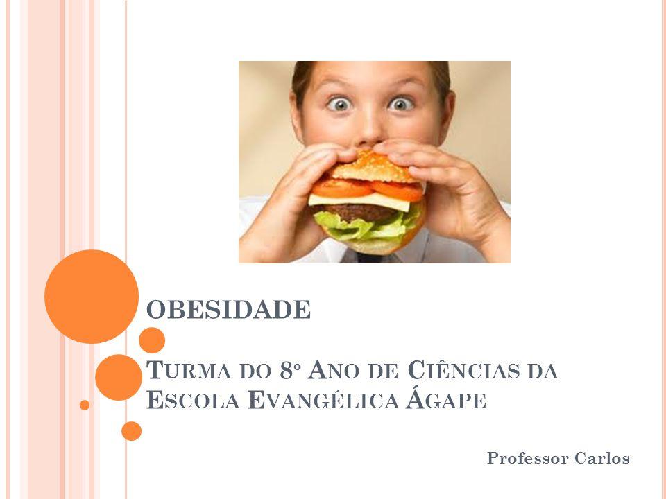 OBESIDADE T URMA DO 8 º A NO DE C IÊNCIAS DA E SCOLA E VANGÉLICA Á GAPE Professor Carlos
