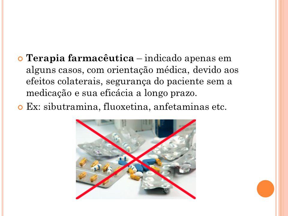 Terapia farmacêutica – indicado apenas em alguns casos, com orientação médica, devido aos efeitos colaterais, segurança do paciente sem a medicação e