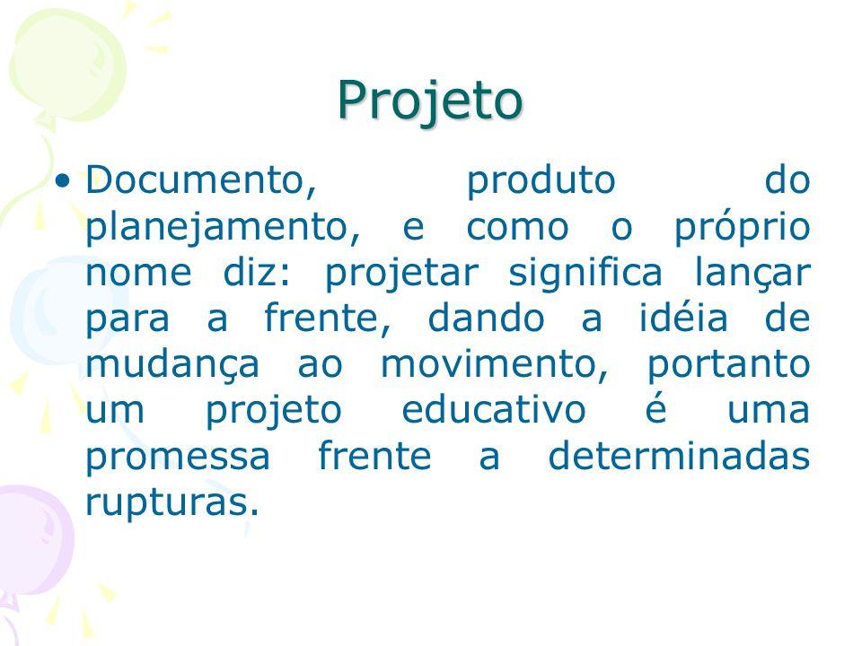 Projeto Documento, produto do planejamento, e como o próprio nome diz: projetar significa lançar para a frente, dando a idéia de mudança ao movimento, portanto um projeto educativo é uma promessa frente a determinadas rupturas.