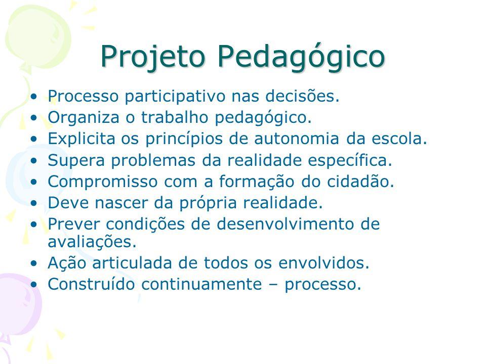 Projeto Pedagógico Processo participativo nas decisões.