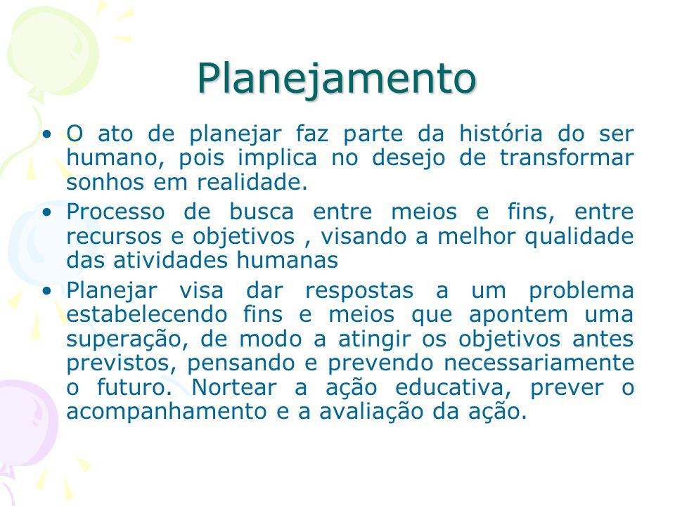 Planejamento Educacional Processo contínuo que se preocupa com o para onde ir e quais as maneiras adequadas de chegar lá.