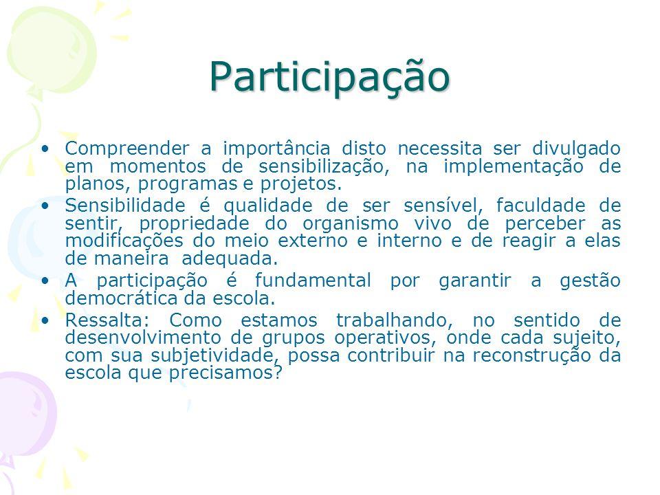 Participação Compreender a importância disto necessita ser divulgado em momentos de sensibilização, na implementação de planos, programas e projetos.