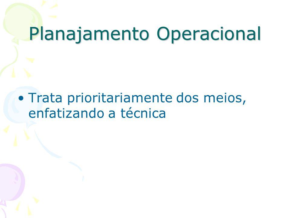 Planajamento Operacional Trata prioritariamente dos meios, enfatizando a técnica