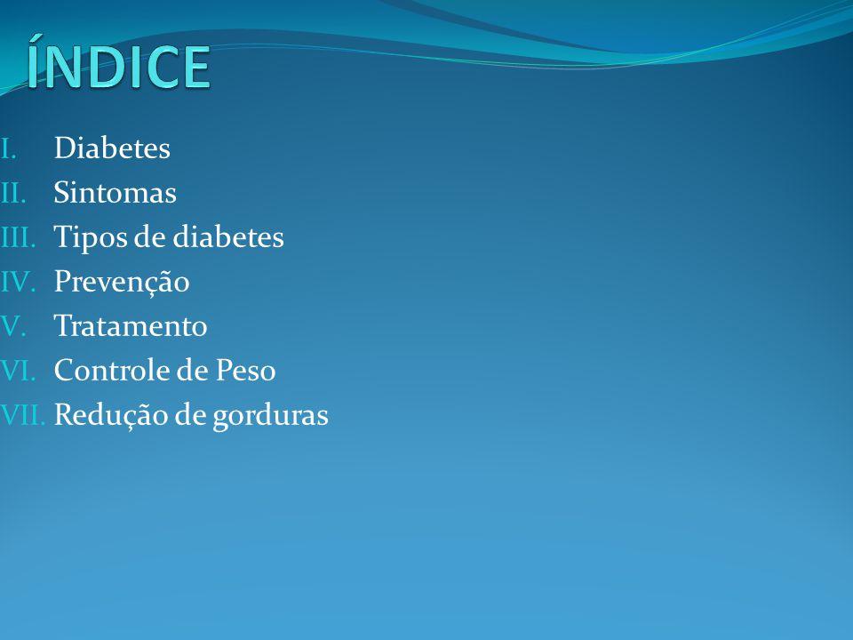 I. Diabetes II. Sintomas III. Tipos de diabetes IV. Prevenção V. Tratamento VI. Controle de Peso VII. Redução de gorduras