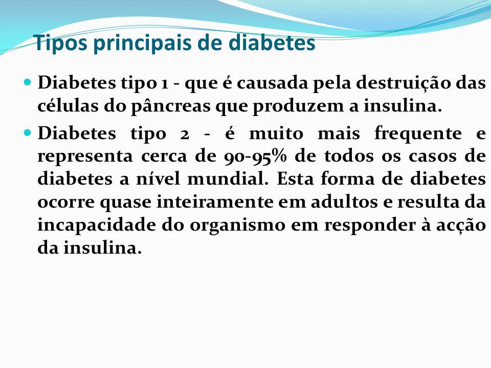 Tipos principais de diabetes Diabetes tipo 1 - que é causada pela destruição das células do pâncreas que produzem a insulina. Diabetes tipo 2 - é muit