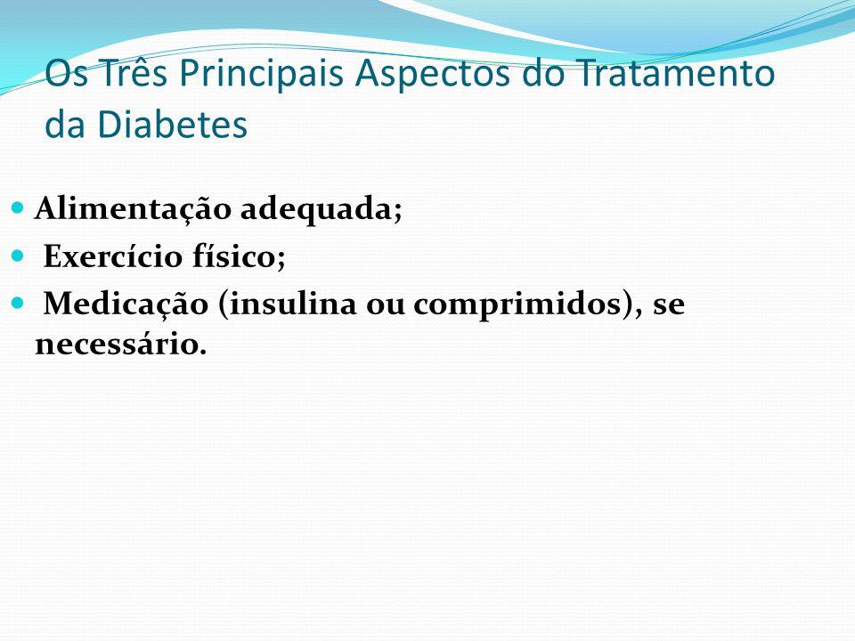 Os Três Principais Aspectos do Tratamento da Diabetes Alimentação adequada; Exercício físico; Medicação (insulina ou comprimidos), se necessário.