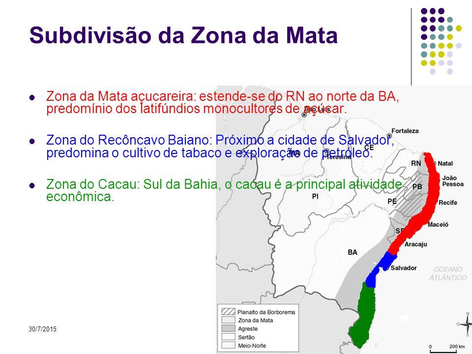30/7/20159 A Zona da Mata Região próxima ao litoral Solos férteis Maior concentração populacional Atividades predominantes – comércio, industria e turismo.