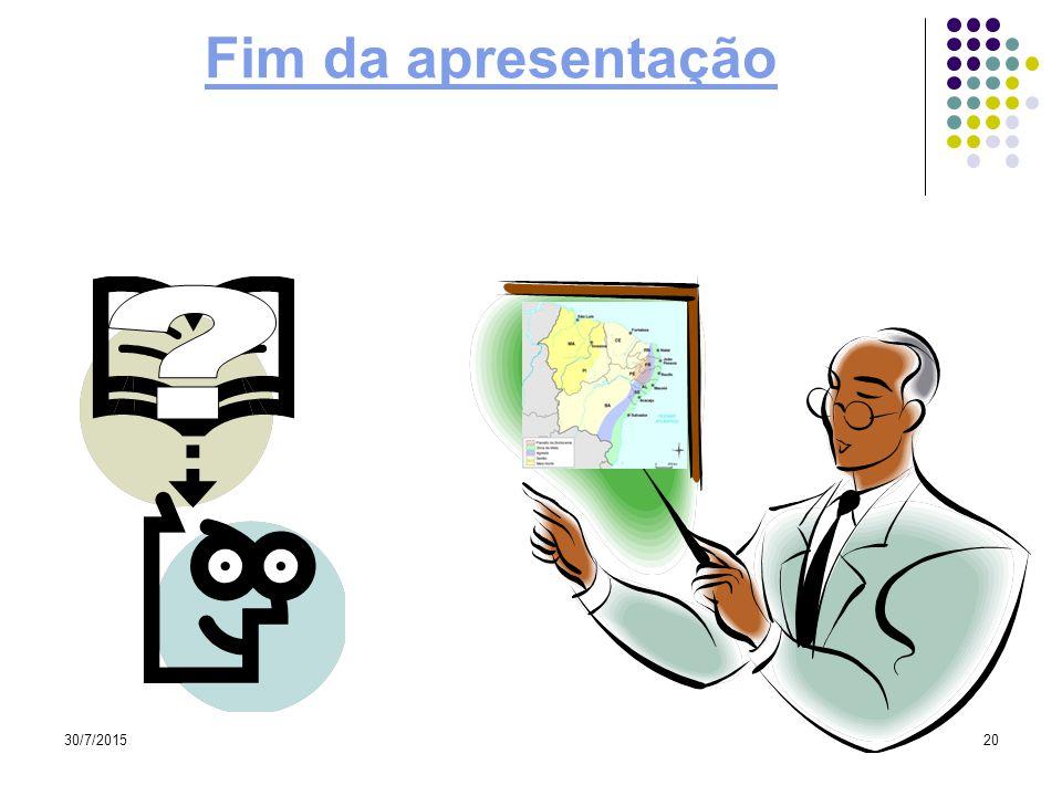 30/7/201519 A transposição do São Francisco Levar águas aos rios temporários do nordeste Mata ciliar Hidrelétricas Redução de sua drenagem