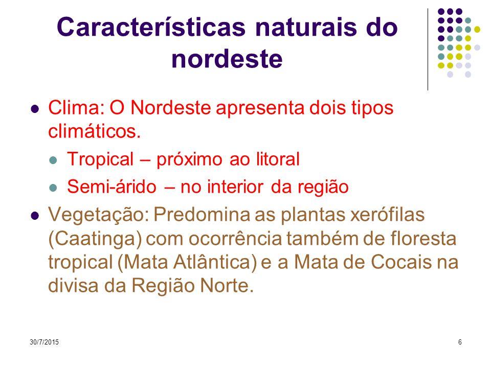 30/7/20155 Características naturais do nordeste Relevo: Predomina as depressões, planaltos, e chapadas, com ocorrência de planície costeira em todo o litoral.