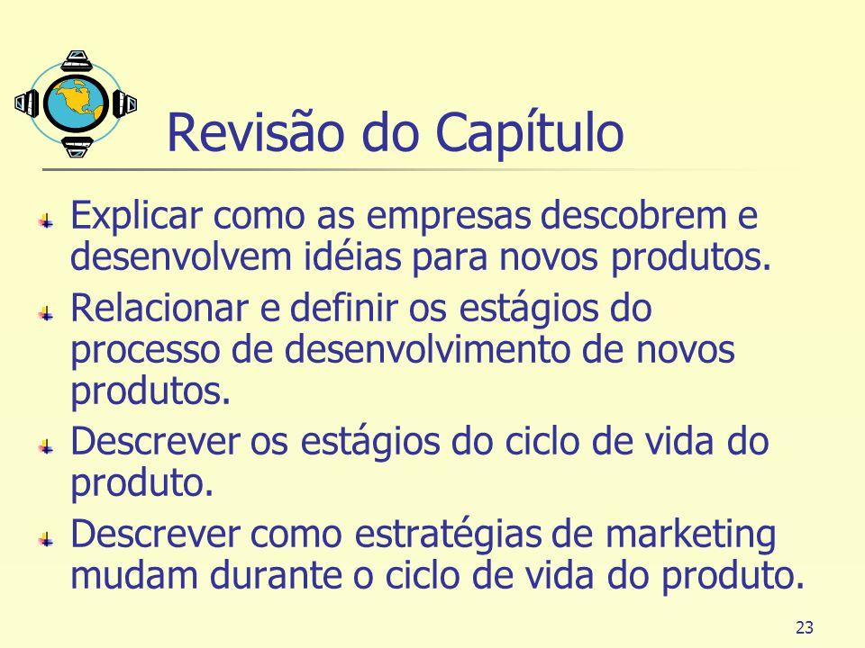 23 Revisão do Capítulo Explicar como as empresas descobrem e desenvolvem idéias para novos produtos. Relacionar e definir os estágios do processo de d