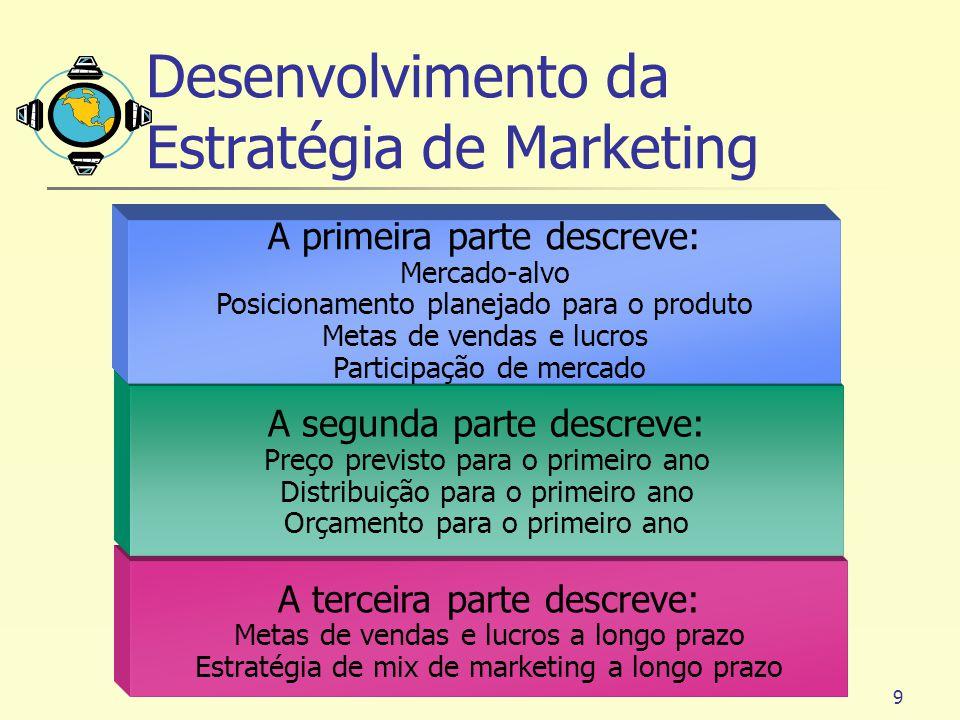 9 A terceira parte descreve: Metas de vendas e lucros a longo prazo Estratégia de mix de marketing a longo prazo A segunda parte descreve: Preço previ